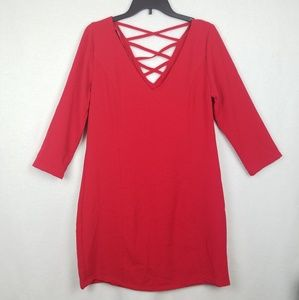 Jack By BB Dakota Red 3/4 Sleeve Dress